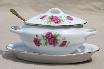 vintage moss rose china jam pot or condiment dish, Royal Crown - Japan