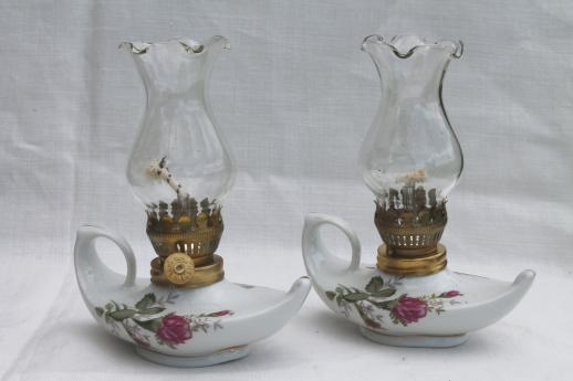 Vintage Moss Rose China Oil Lamps Pair Of Miniature Fairy