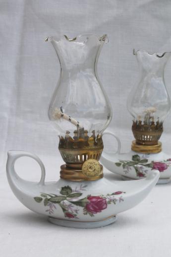 Delightful Vintage Moss Rose China Oil Lamps, Pair Of Miniature Fairy Light Boudoir  Lamps