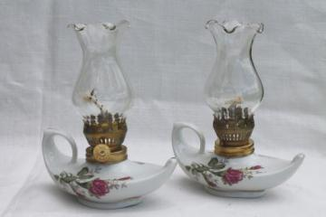 vintage moss rose china oil lamps, pair of miniature fairy light boudoir lamps