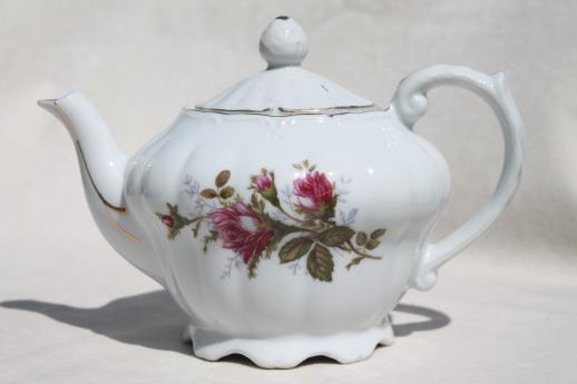 Vintage Moss Rose China Teapot White Porcelain Tea Pot W