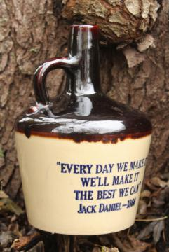 vintage motto jug, stoneware Jack Daniels whiskey bottle Make it the Best We Can