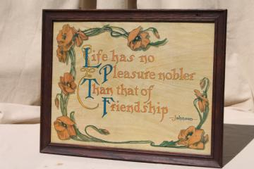 vintage motto print in old oak picture frame, Samuel Johnson quote on friendship