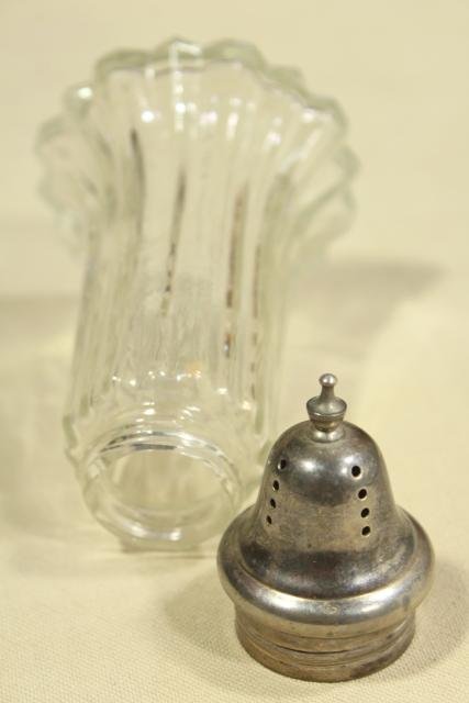 vintage muffineer - tea or breakfast table sugar shaker, glass jar w/ silver plate lid