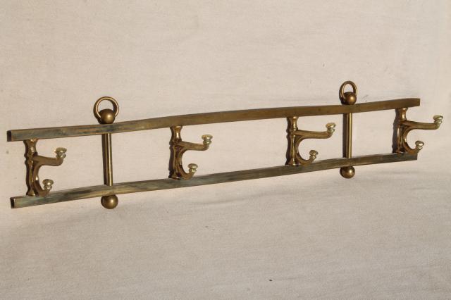 Vintage Mug Rack Or Wall Hanging Coat Hanger Peg Board Solid Brass Enchanting Silver Wall Coat Rack