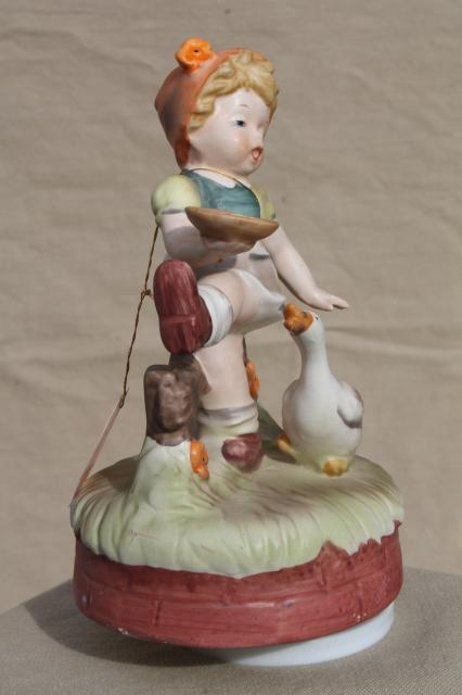 vintage music box, Hummel style little child ceramic goose girl figurine
