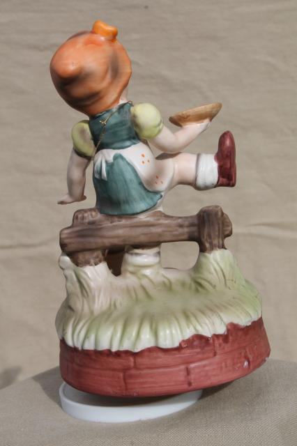 Vintage Music Box Hummel Style Little Child Ceramic Goose
