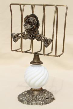 vintage napkin holder for buffet table paper napkins, ornate gold stand w/ milk glass