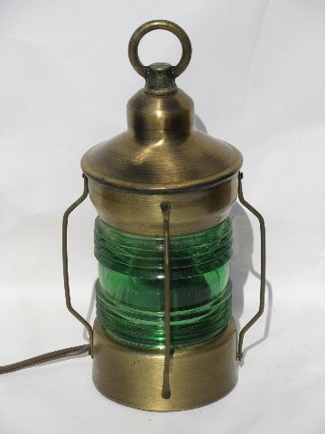 vintage nautical brass lamps, ship or boat signal lanterns, red & green lights
