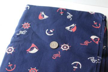 vintage navy blue linen weave fabric w/ red & white sailboats nautical print