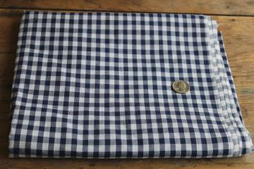 vintage navy blue & white checked gingham fabric, cotton poly blend woven checks