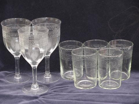 Vintage Needle Etch Federal Depression Glass Tumblers