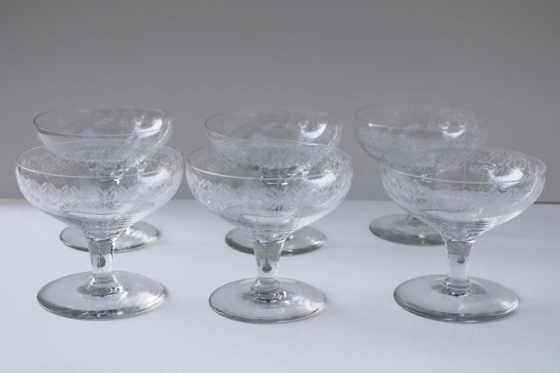 vintage needle etch etched crystal champagne glasses, set of 6 coupe champagnes