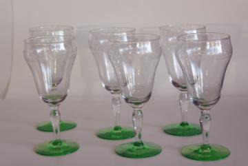 vintage needle etched water goblets, big wine glasses crystal clear w/ uranium green foot