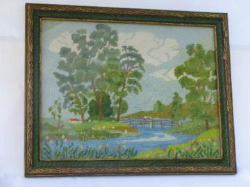 vintage needlepoint in antique wood frame, bridge over stream picture