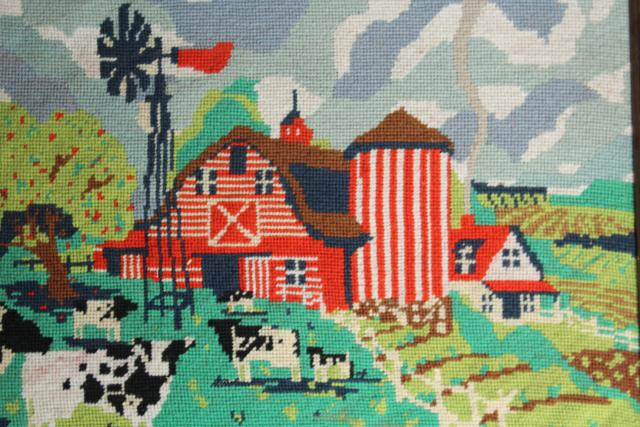 vintage needlepoint picture, holstein cows red barn farm scene in rustic wood frame