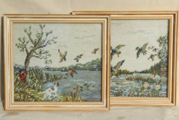 vintage needlepoint pictures, flying ducks & hunter, duck hunting marsh scenes