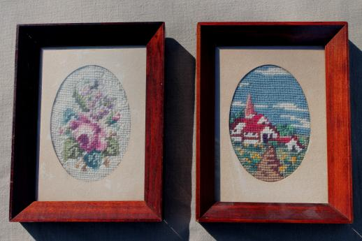 Vintage needlepoint pictures roses a little white for Bungalow style picture frames