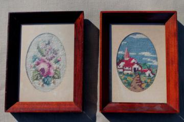 vintage needlepoint pictures, roses & a little white church in cottage style frames