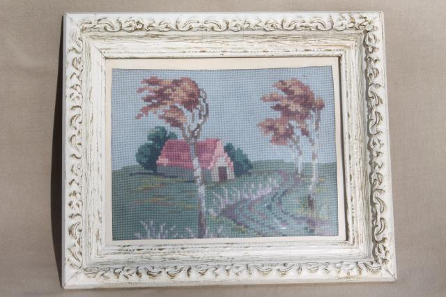 Vintage Needlepoint Pictures Shabby Chic Country Scenes In White