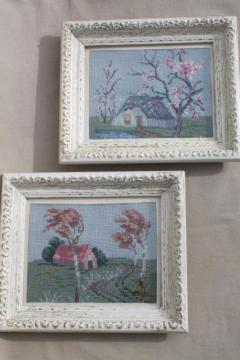 vintage needlepoint pictures, shabby chic country scenes in white painted wood frames
