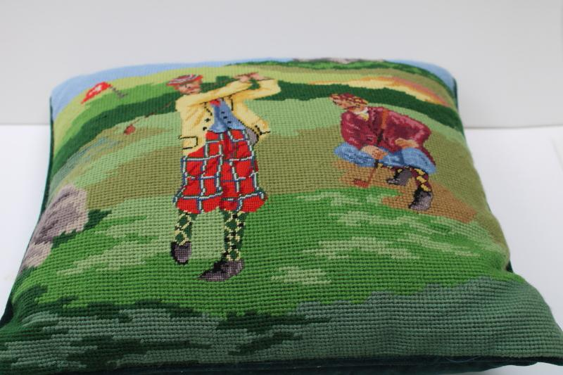 vintage needlepoint pillow, Scottish golfers golfing Scotland preppy decor