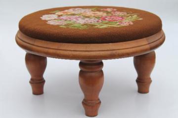 vintage needlepoint seat stool or hassock, rock maple hardwood footstool w/ turned legs