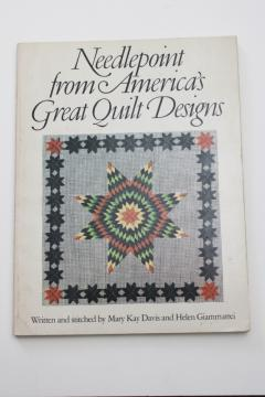 vintage needlework book, charted needlepoint designs from class quilt patterns