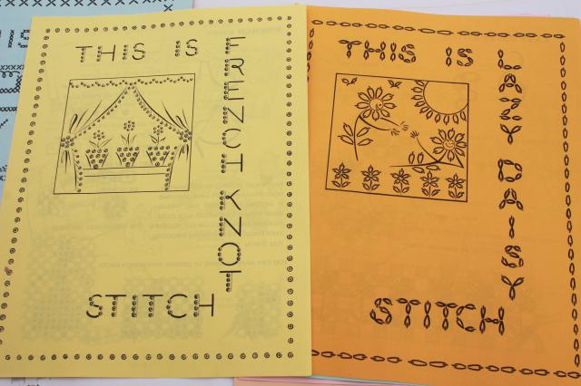 vintage needlework booklet, Gingham Book of Embroidery sewing patterns for chicken scratch