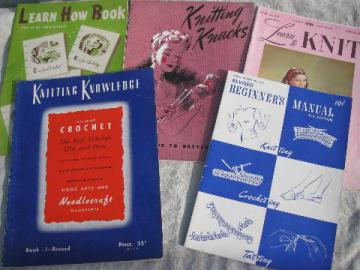 vintage needlework booklets lot, learn to knit/crochet w/ patterns, tips