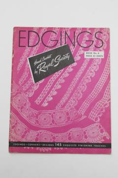 vintage needlework pattern booklet, crochet lace edgings 145 designs Royal Society