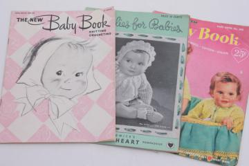 vintage needlework pattern booklets lot, knit & crochet for baby, knitting clothes for babies