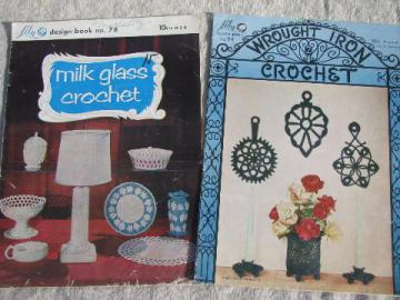 vintage needlework pattern booklets lot, milk glass / wrought iron crochet
