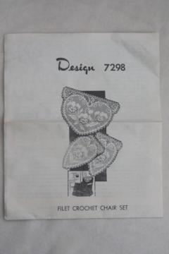 vintage needlework pattern for valentine hearts filet crochet lace chair set