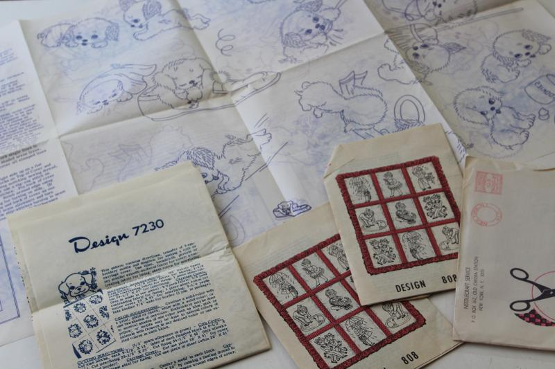 vintage needlework patterns, iron on embroidery transfers for baby nursery quilts