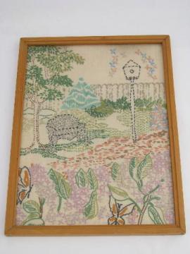 vintage needlework picture, flower garden bench seat, embroidered on linen