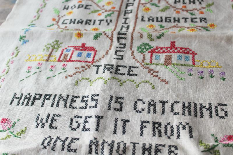 vintage needlework sampler, Happiness is Catching cross stitch embroidery on linen