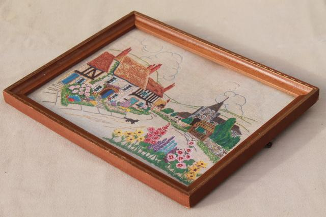 vintage needlework sampler paper print, framed English village scene w/ cottage gardens