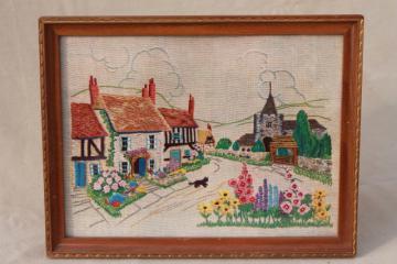 vintage needlework sampler paper print, framed English village scene w/ cottage gardens