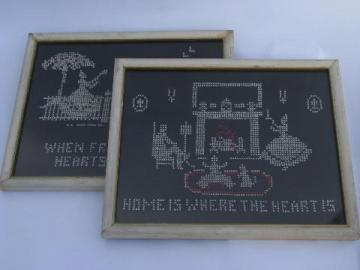 vintage needlework samplers, cross-stitch embroidery motto, home is where the heart is