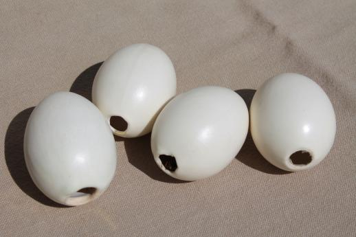 vintage nest eggs for primitive display, ceramic life size chicken eggs lot