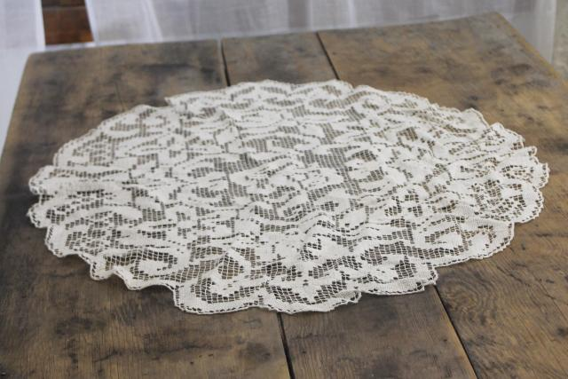 vintage net darning lace, large oval doily or mat, lamp table cover
