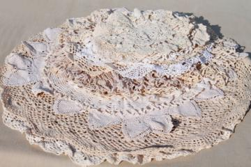 vintage & new cotton lace doilies in all sizes, cottage style crochet doily lot