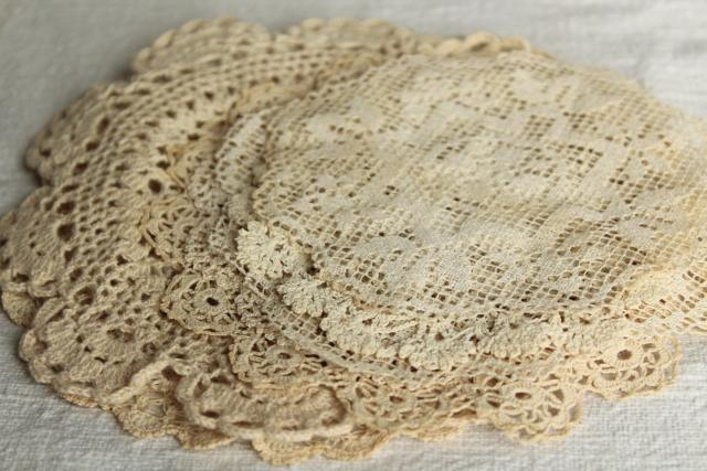 vintage & new cotton lace doilies, small goblet rounds, cottage style crochet doily lot