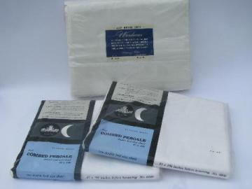 vintage new in package cotton bed linens, pure white sheets, flat sheet lot