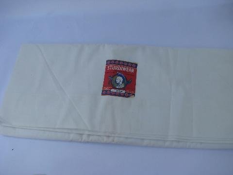 vintage new w/ paper labels cotton bed linens, pure white sheets, flat sheet lot