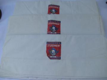 vintage new w/ paper labels cotton bed linens, pure white sheets, flat sheet lot