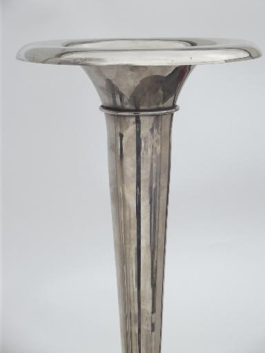 Vintage Nickel Silver Brass Umbrella Stand Floor Vase Art Deco Style