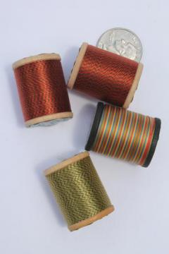 vintage nylon sewing thread, varigated color space dyed self striping changing colors