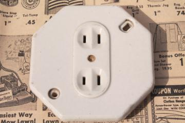 vintage octagonal white ironstone electrical outlet  porcelain receptacles
